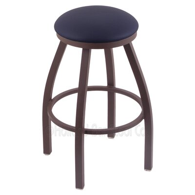 Cragin 30 Swivel Bar Stool Finish: Bronze, Upholstery: Allante Dark Blue