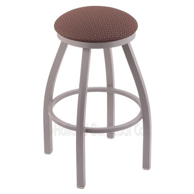 "Image of Cragin 30"" Swivel Bar Stool Upholstery: Axis Denim, Finish: Anodized Nickel"