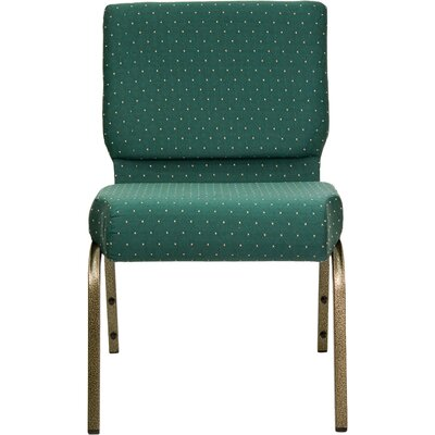 Jackston Stacking Guest Chair Frame Finish: Gold Vein, Seat Finish: Hunter Green Dot Patterned