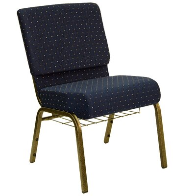 Flatiron Guest Chair Frame Finish: Gold Vein, Seat Finish: Navy Blue Dot Patterned