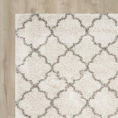 Samira Shag Ivory/Gray Area Rug Rug Size: Rectangle 3 x 5
