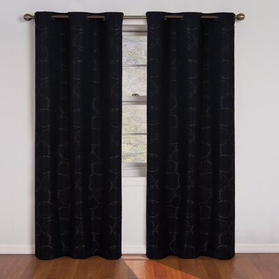 Kips Bay Geometric Blackout Thermal Grommet Single Curtain Panel