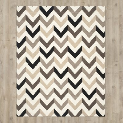 Shaler Hand-Tufted Ivory/Black Area Rug Rug Size: Rectangle 10 x 14