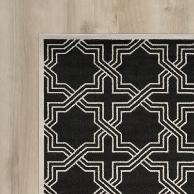 Waverly Place Anthracite/Ivory Indoor/Outdoor Area Rug Rug Size: Runner 23 x 7