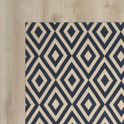 Columbus Circle Hand-Loomed Ivory / Navy Area Rug Size: Rectangle 23 x 39