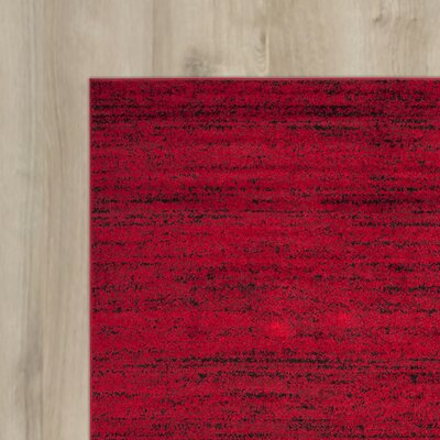 Schacher Red/Black Area Rug Rug Size: Round 4'