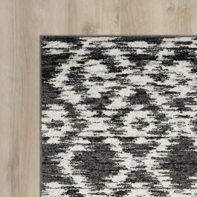 Schacher Charcoal/Ivory Area Rug Rug Size: Round 4