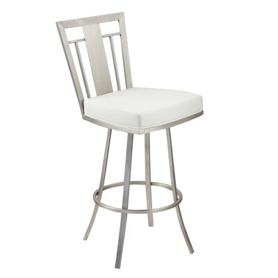 Norridge 26 Swivel Bar Stool Upholstery: White