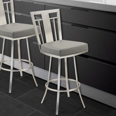 Norridge 26 Swivel Bar Stool Upholstery: Gray