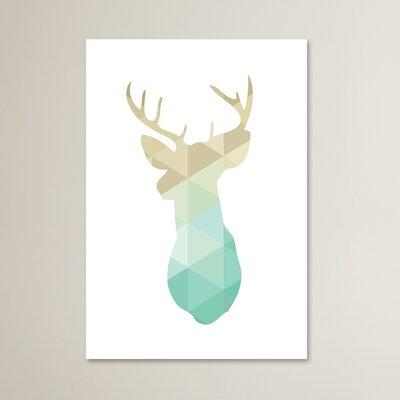 Deer Graphic Art in Blue