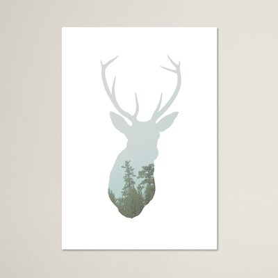 Beckett Deer Trees Graphic Art Size: 10