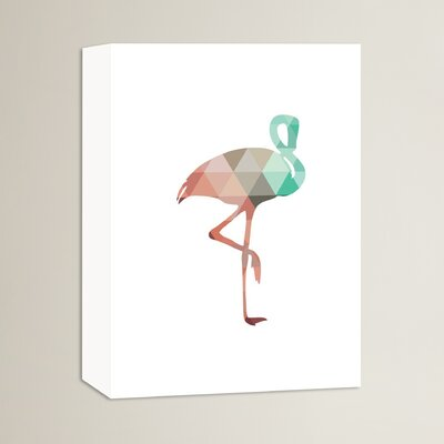 Beckett Flamingo Graphic Art on Wrapped Canvas Size: 14