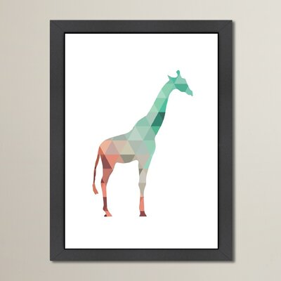 Beckett Mint Coral Giraffe Framed Graphic Art Size: 12.5