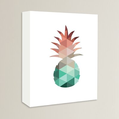 Beckett Mint Coral Pineapple Graphic Art on Wrapped Canvas Size: 14