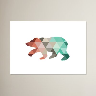 Bear Graphic Art in Red Size: 11