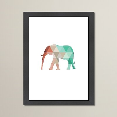 Beckett Mint Coral Elephant Framed Graphic Art Size: 12.5