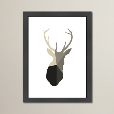 Beckett Deer Head Framed Graphic Art Size: 12.5
