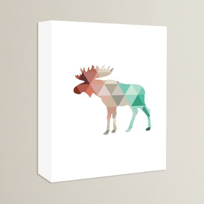Beckett Mint Coral Moose Graphic Art on Wrapped Canvas Size: 14