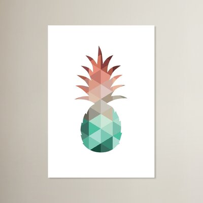 Beckett Mint Coral Pineapple Graphic Art Size: 10
