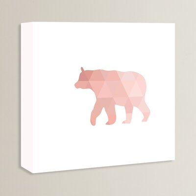 Beckett Coral Bear Graphic Art on Wrapped Canvas Size: 14