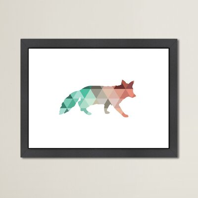 Beckett Coral Mint Fox Framed Graphic Art Size: 10.5