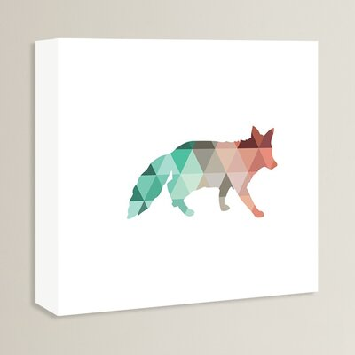 Beckett Coral Mint Fox Graphic Art on Wrapped Canvas Size: 14
