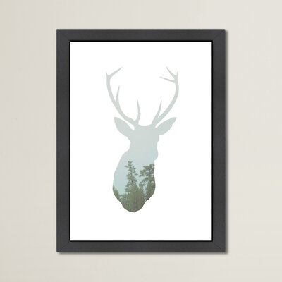 Beckett Deer Trees Framed Graphic Art Size: 12.5