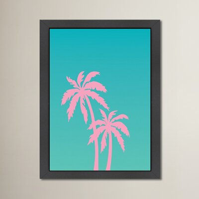 Cabrini Palm Tree Framed Graphic Art Size: 12.5