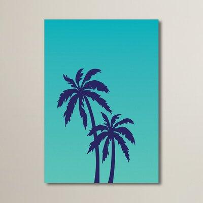 Cabrini Teal Palm Tree Graphic Art Size: 10