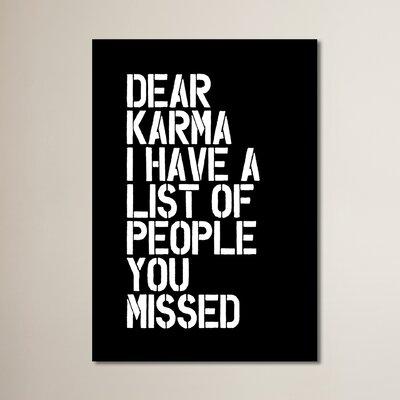 Dear Karma Textual Art