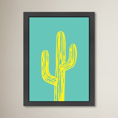 Cabrini Cactus on Teal Framed Graphic Art