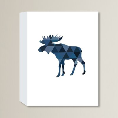 Beckett Navy Moose Graphic Art on Wrapped Canvas Size: 14