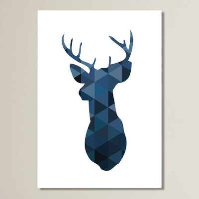Beckett Navy Deer Graphic Art Size: 10