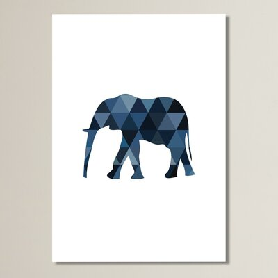 Beckett Navy Elephant Graphic Art Size: 10