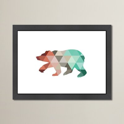 Beckett Mint Coral Bear Framed Graphic Art Size: 10.5