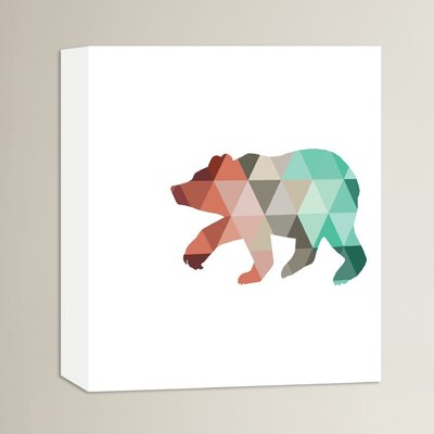 Beckett Mint Coral Bear Graphic Art on Wrapped Canvas Size: 14
