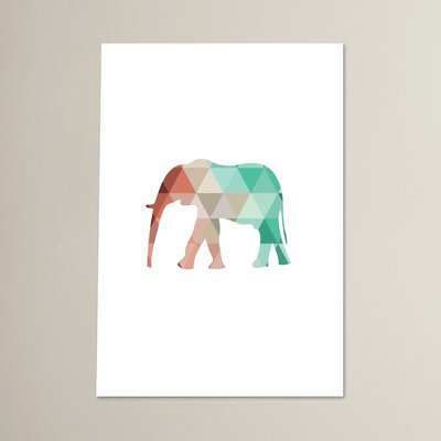 Beckett Mint Coral Elephant Graphic Art Size: 10