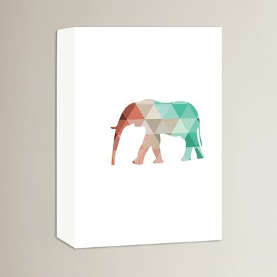 Beckett Mint Coral Elephant Graphic Art on Wrapped Canvas Size: 14