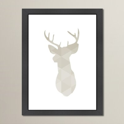 Deer Framed Graphic Art in Grey