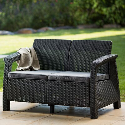 Berard Patio Loveseat with Cushions Finish: Charcoal