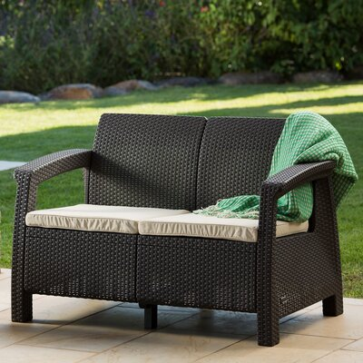 Colona All Weather Outdoor Loveseat with Cushion Finish: Brown