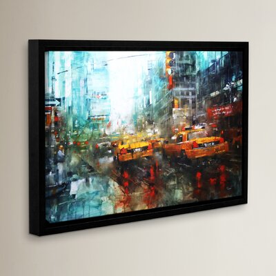 Times Square Reflections Frame Painting Print on Wrapped Canvas Size: 12