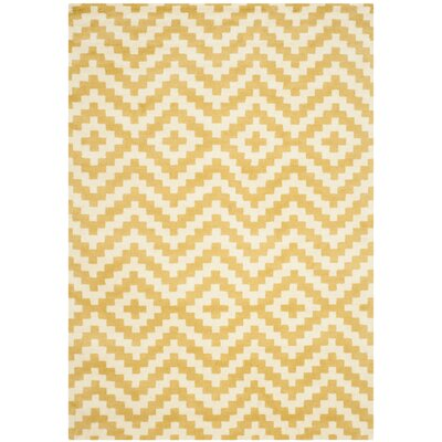 Dodge Ivory / Gold Area Rug Rug Size: Rectangle 5 x 7