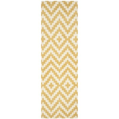 Dodge Ivory / Gold Area Rug Rug Size: Runner 26 x 8