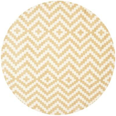 Dodge Ivory / Gold Area Rug Rug Size: Round 6'