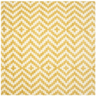 Dodge Ivory / Gold Area Rug Rug Size: Square 6
