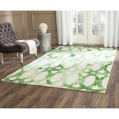 Edie Ivory & Green Area Rug Rug Size: Rectangle 5 x 8