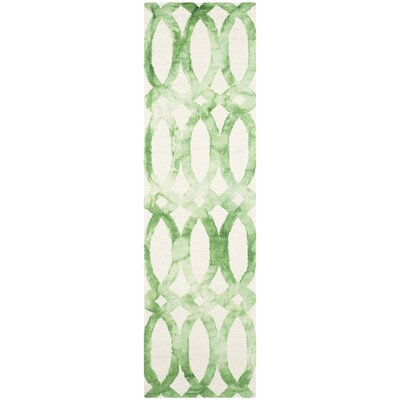 Edie Ivory & Green Area Rug Rug Size: Runner 23 x 6