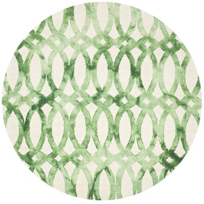 Edie Ivory & Green Area Rug Rug Size: Round 7