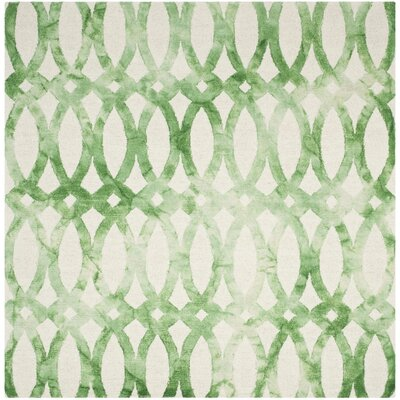 Edie Ivory & Green Area Rug Rug Size: Square 7